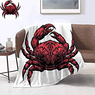 Luoiaax Crabs Luxury Special Grade Blanket Astrology Themed Illustration of a Crab Representing Cancer Zodiac Sign Art Print Multi-Purpose use for Sofas etc. W55 x L55 Inch Red Black