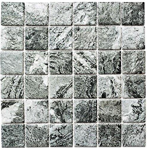 Mosaik Fliese Keramik Steinoptik Struktur grau für BODEN WAND BAD WC DUSCHE KÜCHE FLIESENSPIEGEL THEKENVERKLEIDUNG BADEWANNENVERKLEIDUNG Mosaikmatte Mosaikplatte
