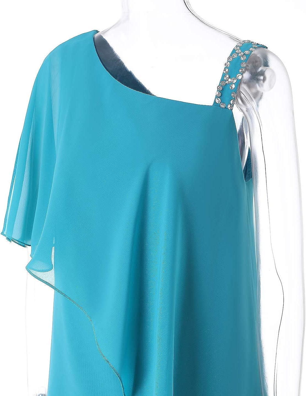 Women's 2 Pieces Ruffles Chiffon Mother of Bride Dress Pants Suit Sleeveless for Wedding(US 22 Plus, Royal Blue)
