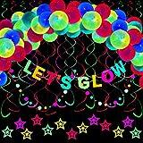 70 Stück Let's Glow Neon Party Zubehör, Let's Glow Banner, Schwarzlicht Kreis Punkte und Stern Girlanden, Reaktiver UV Neon Hängend Wirbel und Fluoreszierende Luftballons für Glow Party Geburtstag