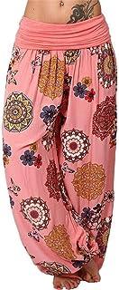 KWENG Large Size Women's Casual Bohemian Print Wide Leg Loose High Waist Pants Harem Pants Casual Loose 7 Colors (Color : Pink, Size : 4XL)