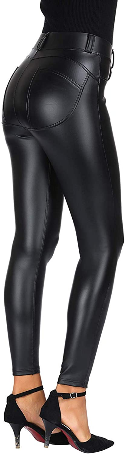 HOAOU Faux Leather PU Elastic Shaping Hip Push up Pants Black Sexy Leggings for Women