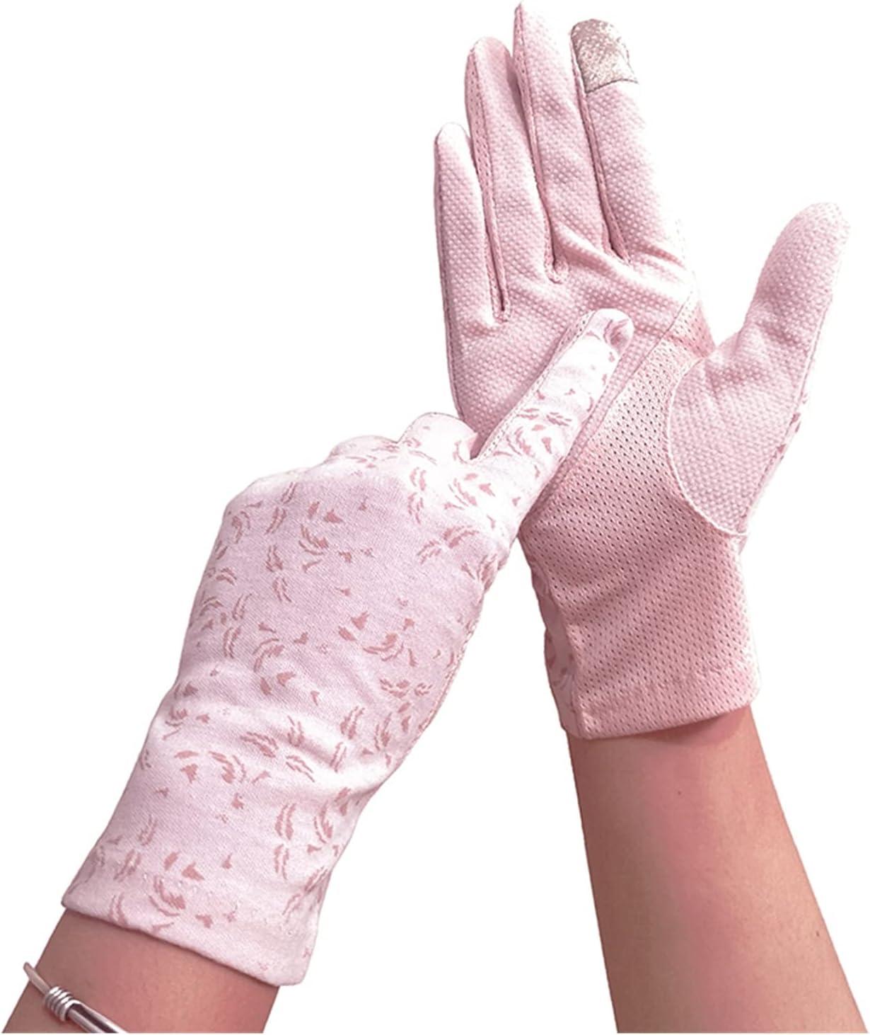 LANREN Women's Summer Driving Gloves Non-Slip Block UV Touch Screen Gloves Breathable Cotton Gloves for Women (Color : 13, Gloves Size : One Size)