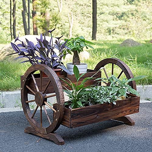 DNNAL Caja de plantación de balcón Familiar, Camas plantadoras Patio de jardín decoración de Madera Maciza al Aire Libre Caja de Flores