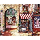 SUZIHUA Pintura Al Óleo Digitalvista De La Calle De Praga Decoración Juguetes Juegos Pinturas-With frame