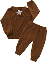 HAPPYMA Fall Winter Outfits Toddler Baby Girl Pant Sets Solid Color Blouse Long Sleeve Top + Pants, Clothes for Kids Girls 1-4T (Brown, 15-18 Months)