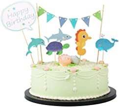 LVEUD Colorful Happy birthday cake topper, Party Supplies Decoration (Marine life, whales and dolphins)