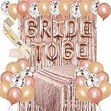 JOTOM JGA Deko Luftballons Set Braut to Be Deko mit Banner Folienballons Schärpe Rosegold...