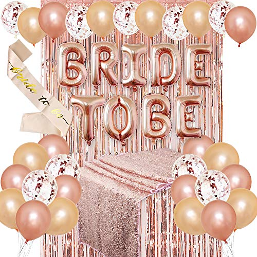 JOTOM JGA Deko Luftballons Set Braut to Be Deko mit Banner Folienballons Schärpe Rosegold Luftballons Rosa Pailletten Tischdecke Party Junggesellenabschied Deko