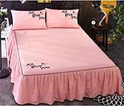 XGXQBS Valance Fitted Sheets, Extra Deep Frilled Bed Skirt Easy Care Dust-Proof Valance Bed Sheet for Single Double King Bed with 2 Pillowcases-Pink 200x220cm(79x87inch)