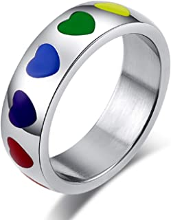 6MM Stainless Steel LGBT Pride Ring for Gay Lesbian Rainbow Heart Wedding Band Size 5-12