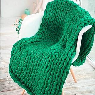 LICHUXIN Couverture tricotée faite à la main pour canapé, animal domestique, décoration de chambre à coucher (couleur : ve...