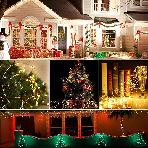 [2 Pack] Upoom Solar Fairy Lights, 200 LED Outdoor Solar String Lights Garden Copper Wire Decorative Lights 66Ft Waterproof Indoor Outdoor Lighting for Garden, Patio, Yard, Christmas