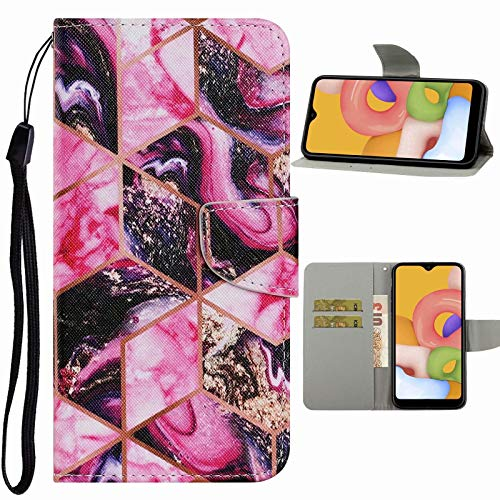 Nadoli Handyhülle für Samsung Galaxy A31,Kreativ Lila Marmor Muster Premium Leder Lanyard Magnetverschluss Ständerfunktion Schutzhülle Brieftasche mit Kartenfächer