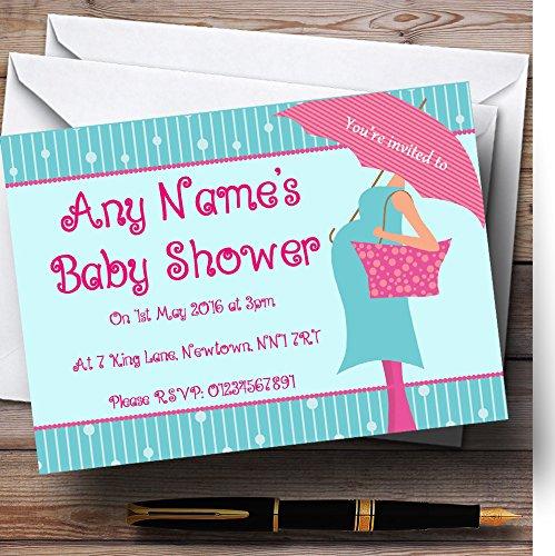 10 x Uitnodigingen Zwangere Dame En Paraplu Gepersonaliseerde Baby Douche Nodigt elke Wording