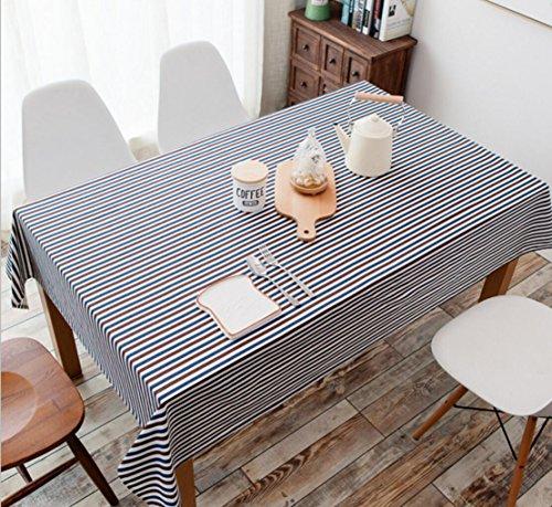 Creek Ywh tafelkleed van katoenen linnen, gestreept, fris tafelkleed, blauw, tafelloper, vierkant, rond, zwarte strepen, 140 x 140 cm