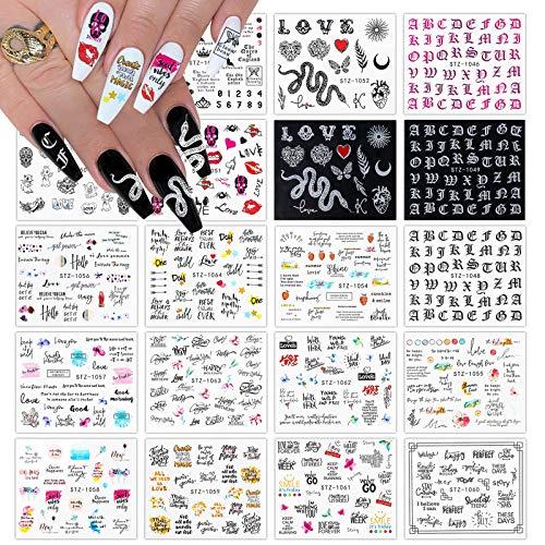 Kalolary 20 hojas Pegatinas Uñas, 3D Diseño de serpiente Arte de uñas pegatinas Pegatinas de uñas de transferencia de agua Decoración de accesorios de arte de uñas para mujeres niñas