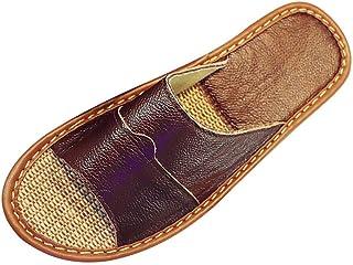 Sandales Antidérapage Tongs Léger Chaussons de Bain en Lin Pantoufles d'intérieur Slippers Maison Chaussures d'été pour Ho...