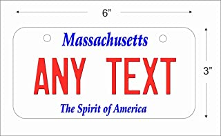 Massachusetts State Replica Novelty License Plate for Auto, Mini License Plate for Bicycles, Bikes, Wheelchairs, Golf Carts Personalized with Your Text Custom Vanity Decorative Plate