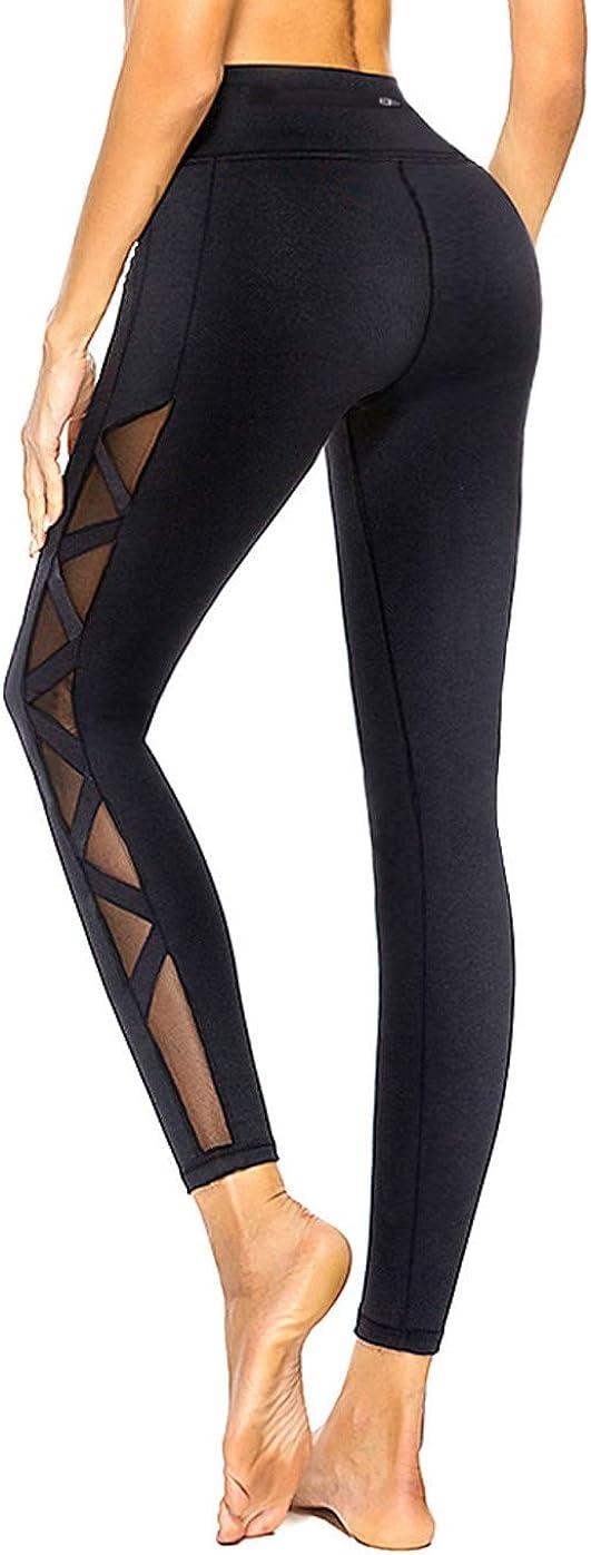 Max 63% OFF romansong Women's Mesh Leggings Yoga with half Pants Pocket See- Non