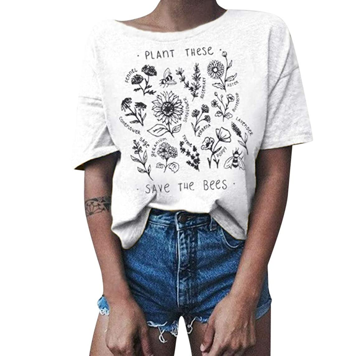 Women T-Shirt Casual Vintage Summer Short Sleeve Tee Letter Floral Print Loose Blouse Tops