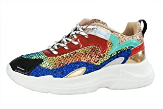 LUCKY-STEP Women Casual Sneakers Metallic PU Sequins Iridescent Lace Up Walking Shoes