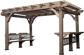 Backyard Discovery Oasis 14 ft. x 10 ft. Barnwood Cedar Wooden Pergola