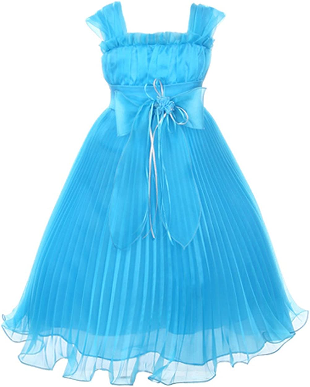 Cinderella Couture Girl's Turquoise Embroidery Organza Girl Dress