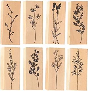 Anyasen 8 pièces Bois Caoutchouc Tampons Jeu de tampons en Bois Timbres en Caoutchouc Plantez des Fleurs pour l'album Phot...