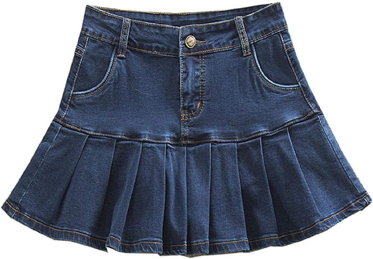 CHARTOU Women's High Waist Ruffle Pleated Packaged Hip A Line Mini Denim Skirt
