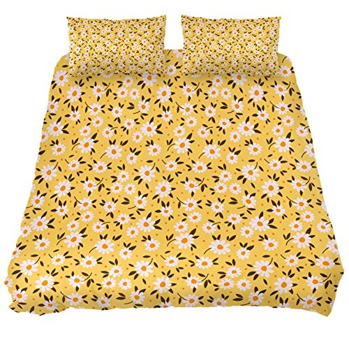 MUMIMI 3 Pcs Microfiber Bedding Set Duvet Cover Pillow Shams Bed Quilt Cover 1 Cover 2 Pillowcase with Zip,Lightweight and Soft,Single,Floral Ditsy Print