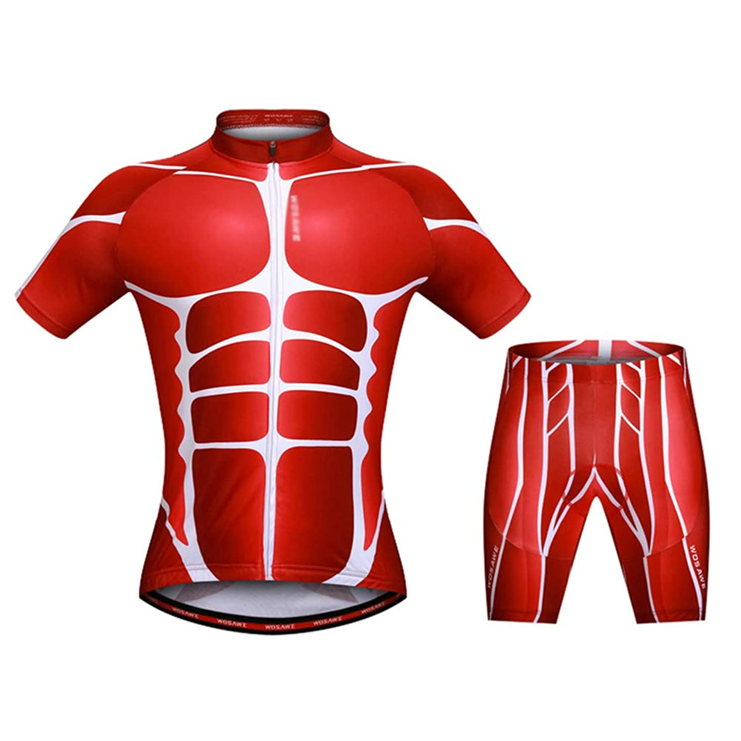 LSJZS Men's Cycling Suit Breathable Set Comfortable Quick Dry Men Short Sleeve Jersey + Padded Shorts Riding Sportswear