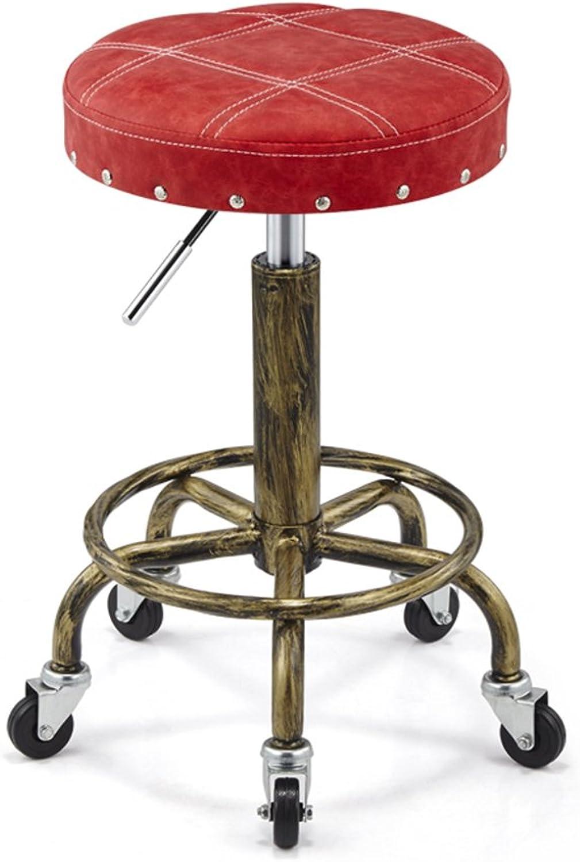 LQQGXL Retro Makeup Stool, Creative PU Lattice bar Stool Lift Stool Iron Stool high Stool Swivel Chair Creative Dining Chair, (color   A)