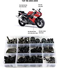 Xitomer Complete Bodywork Screws, for Yamaha YZF-R6 2003 2004 2005 YZF-R6S 2006 2007 2008 2009, Full Set Fairing Bolts/Washers/Nuts/Clips/Grommets (Titanium)
