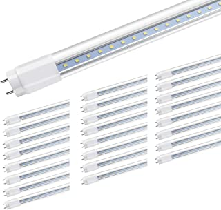Romwish 4ft LED Light Tube, 18W(40W Equiv), Dual-end Power, 2000Lumens, Glass, T8 T10 T12, Ballast Bypass, 5000k, Daylight Bulb, for Garage, Warehouse, (25 Pack)