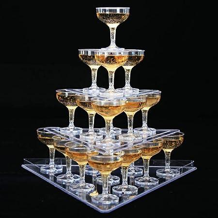 3層のシャンパンタワーディスプレイ、三角形のタワースタンド、透明なアクリルゴブレットワインタワー、結婚式パーティーの誕生日のためのクリエイティブなレイアウト(22カップ入り)