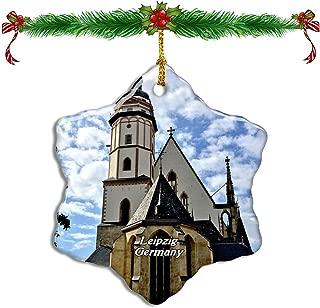 Fcheng Germany St. Thomas Church Leipzig Christmas Ceramic Ornament Tree Decor City Travel Souvenir Double Sided Snowflake Sublimation Porcelain Hanging Ornament