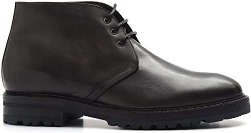 BRECOS - schwarz Leather Brecos Lace up Ankle Stiefel with Sheepskin - 816726356 Vit grau