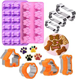 Dog Bone Cookie Cutter,Dog Treat Molds,Stainless Steel Paw Cookie Cutters Set,Including Puppy and Dog House Dog Bone shapes and Food Grade Dog Paw and Bone Silicone Puppy Treat Molds 9 Pack