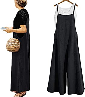 fdebac99d54c Yoawdats Women Summer Loose Linen Suspender Overalls Jumpsuit Bib Trousers  Wide Leg Pants Plus Size