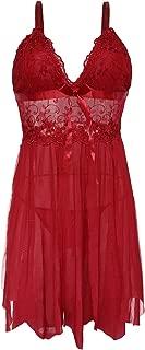 Queen.M Pretty Pajama Lingerie Sling Babydoll Dress Underwear Nightgown V Neck Nightwear