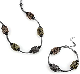 "Looklove Womens Jewelry Hand Crafted Mixed Metal Necklace and Bracelet Set 18"" Necklace Bracelet 7-1/2"" with Extender to F..."