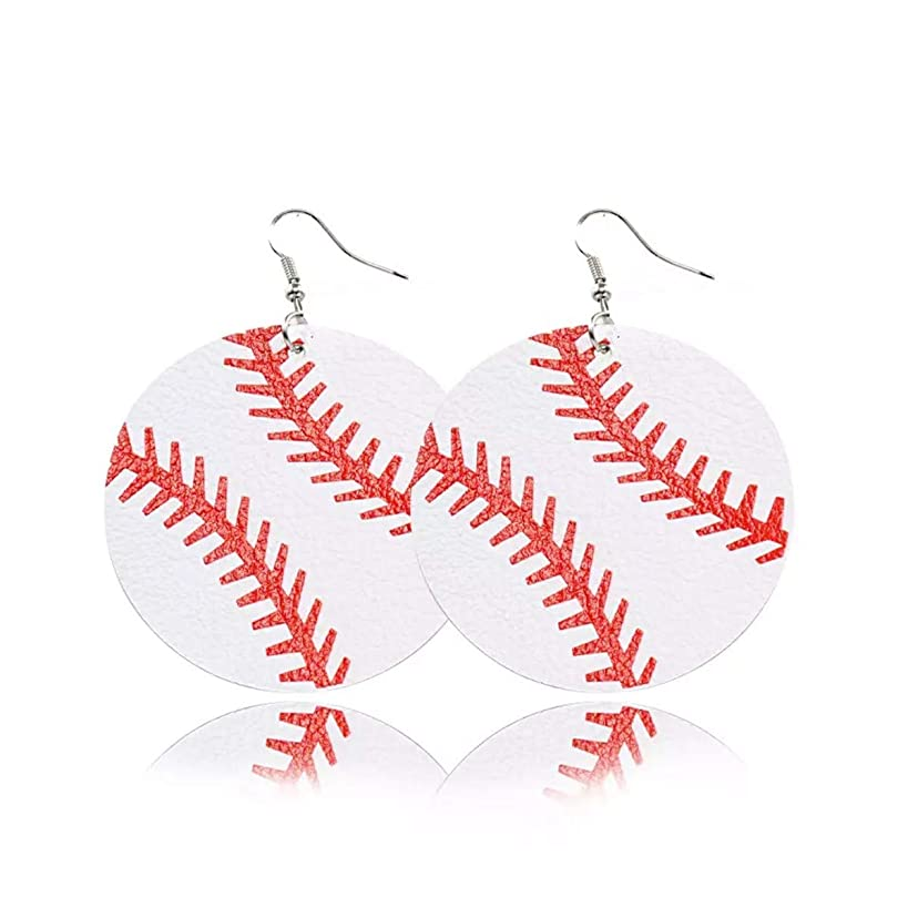 YINFENGKANHAI Women's Lightweight Faux Leather Earrings Vibrant Ball Dangle Earrings Teardrop Summer Dangle Girls Earrings