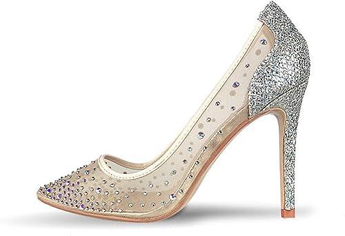 VIVIOO Crystal femmes Pumps Chaussures à Talons Hauts pour Femmes Mode Chaussures de Mariage de Femme