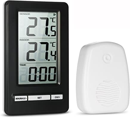 Anself LCD Digital Wireless Thermometer Indoor and Outdoor Temperature Measurement Max/Min Value Display 12H/24H Clock