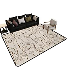 Home Custom Floor mat,Scribble Spirals Vertical Swirl Lines and Circles Bizarre Modern Pattern 6'x8',Can be Used for Floor Decoration