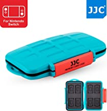 JJC 8+8 Slots Water-Resistant Game Card Case Memory Card Protector for 8 X Game Card (Nintendo Switch : Super Mario Odyssey/Sony Playstation PS Vita : Minecraft) + 8 X Micro SD/MSD Memory Card, Blue