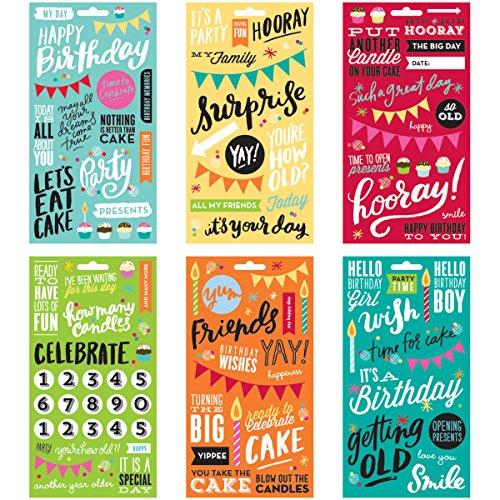 me & my BIG ideas Aufkleber Pocket Seiten Klar 6Sheets-Birthday