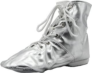 MSMAX PU Women's Jazz Dance Boots Silver/Gold