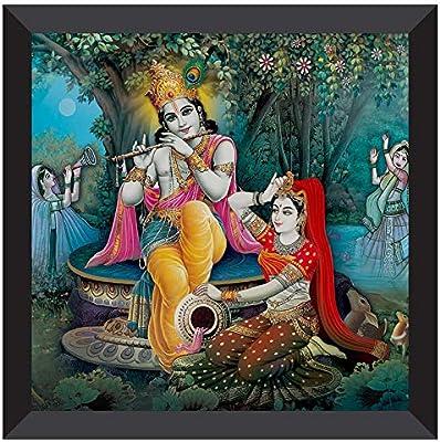 SAF UV Coated Radha Krishna Multieffect Digital Reprint Painting 12 inch X 12 inch SANF21009